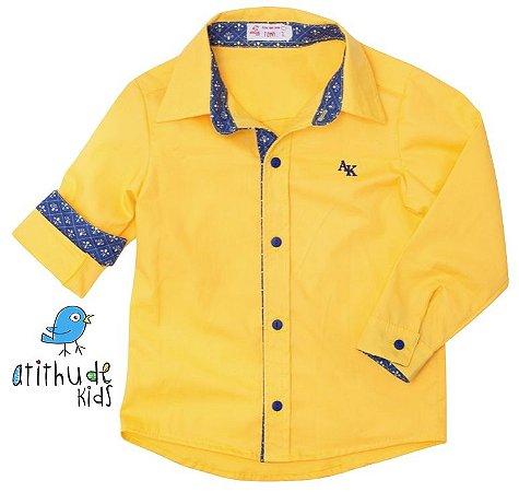 Camisa Bernardo - Amarela com detalhe estampado azul