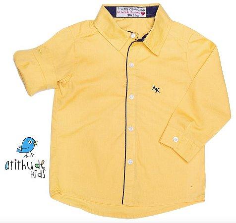 Camisa Sebastian - Amarela com detalhes em azul marinho