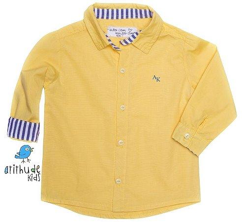 Camisa Benício - Amarela com detalhe listrado