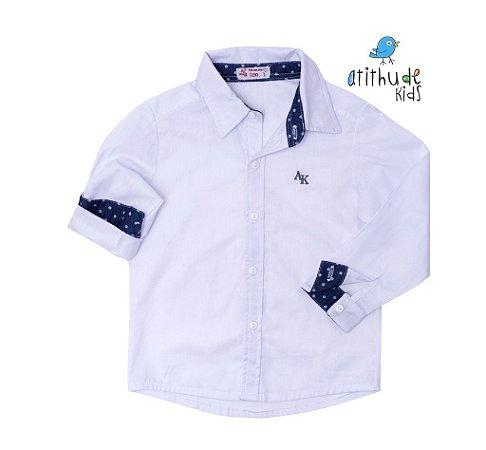 Camisa Ryan - Branca com poá azul