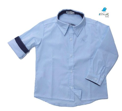 Camisa Guido - Poá azul claro