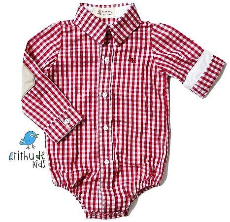 Camisa Francesco - Xadrez Vermelho com cotoveleira | Fazendinha