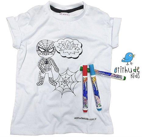 Camiseta para pintar (branca) - Homem Aranha