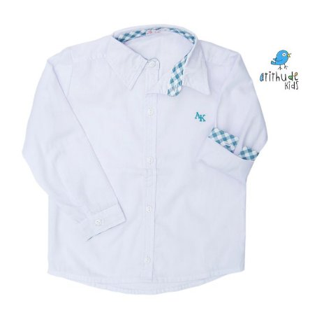 Camisa Mike - Branca com detalhes em xadrez azul
