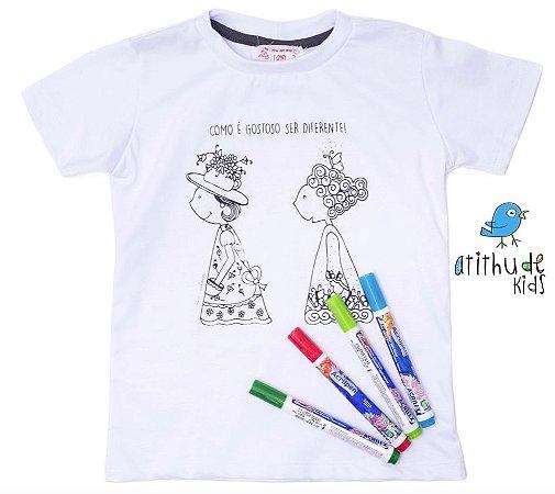 Camiseta para pintar (branca) - A moda inventa a gente