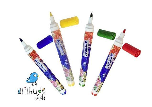 Kit 4 canetas Acrilpen - para tecido