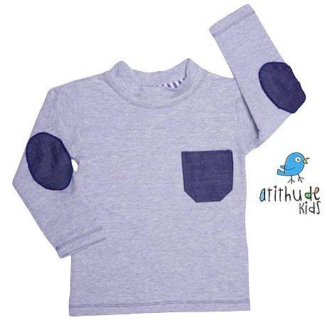 Camiseta Augusto - Cinza com cotoveleira