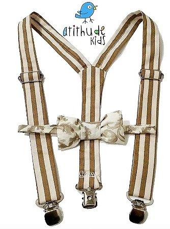 Kit suspensório + gravata borboleta - Bege