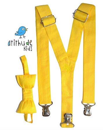 Kit suspensório + gravata borboleta - Amarelo