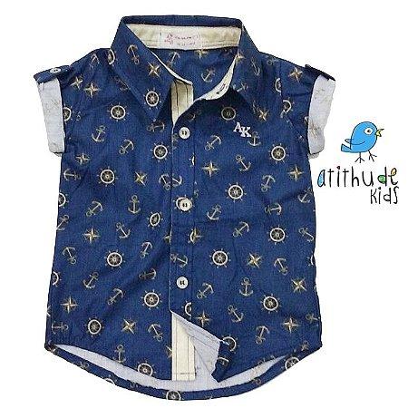 Camisa Bruno - Estampa Fundo do Mar | Azul e Dourado