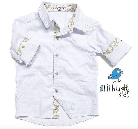 Camisa João Gabriel - Branca com detalhe estampado