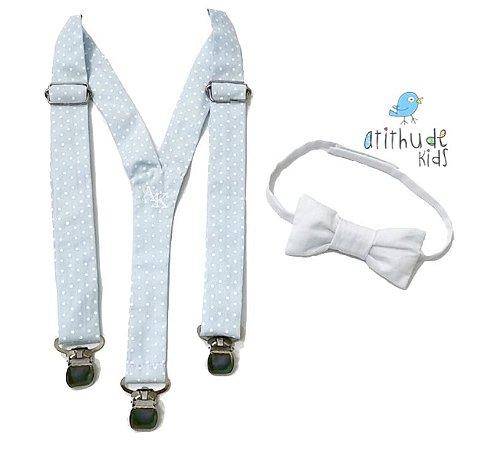 Kit suspensório + gravata borboleta - poá azul e gravata branca