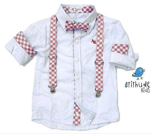 Camisa Mike - Branca com detalhes em xadrez rosa