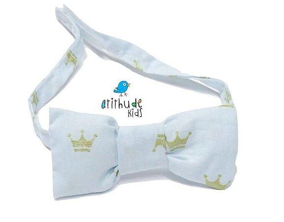Gravata Borboleta - Branca estampada - Coroa