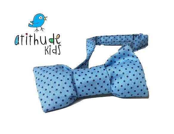 Gravata Borboleta - Poá Azul Claro