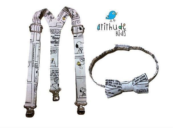 Kit suspensório + gravata borboleta - SNOOPY