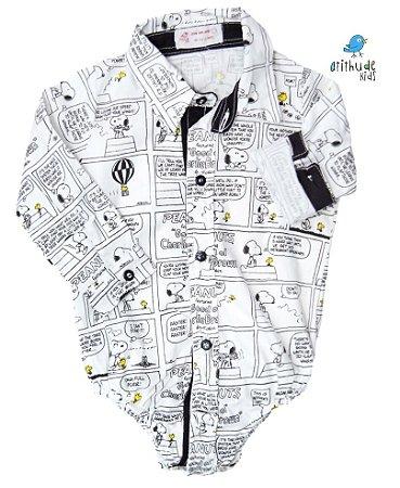 ad68b62847 Camisa Snopy - Branca com preta em quadrinhos - atithudekids.com.br