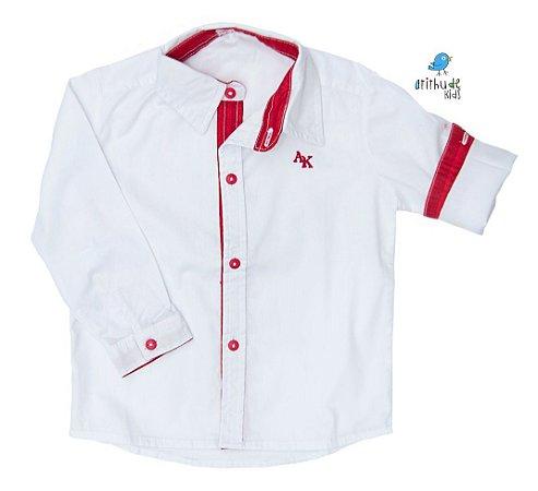 Camisa Alcides - Branca com Vermelho |