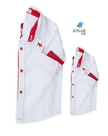 Kit camisa Alcides  - Tal pai, tal filho  (duas peças) | Vermelha |Mickey