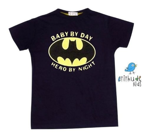 Camiseta Baby by day, hero by night - Preta