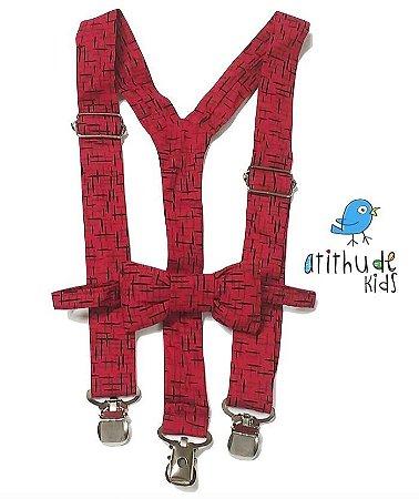 Kit suspensório + gravata borboleta - Vermelho Estampado (adulto)