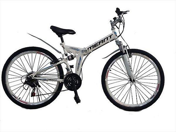 Bicicleta mountain bike dobrável aro 26 marca MEANT-Branca