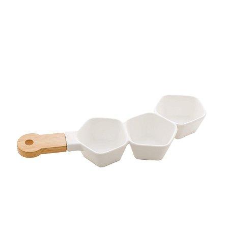 Petisqueira Porcelana Tripla com Cabo Bambu Branco Matt