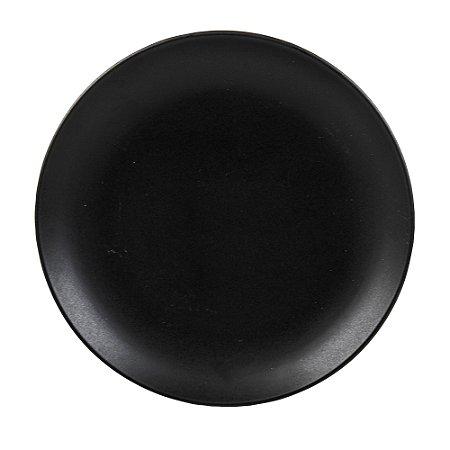 Prato de Sobremesa Cerâmica Preto Matt - Bon Gourmet