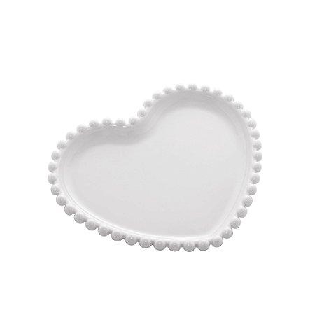 Prato de Coração de Porcelana Beads com Borda de Bolinhas Branca 17 cm