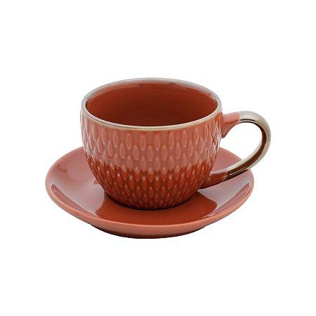Conjunto de 4  Xícaras de Porcelana Para Café Laranja