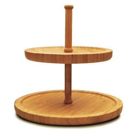Prato Duplo Stand Cake Bambu - Tyft