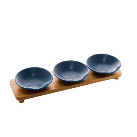Conjunto de 3 Petisqueiras Com Bandeja Azul Matt