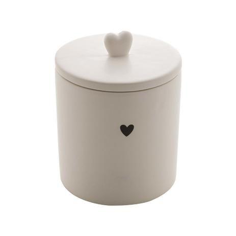 Pote Decorativo de Cerâmica Heart Branco 12 cm
