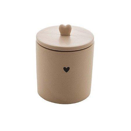 Pote Decorativo de Cerâmica Heart Bege 12 cm