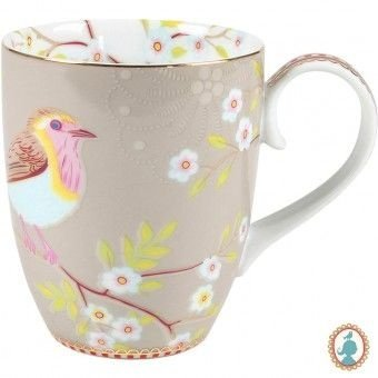 Caneca Grande Early Bird Caqui Floral PiP Studio