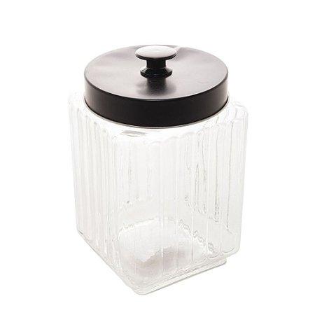 Pote de Vidro Borossilicato Com Tampa de Metal Preta -  1,7 lt