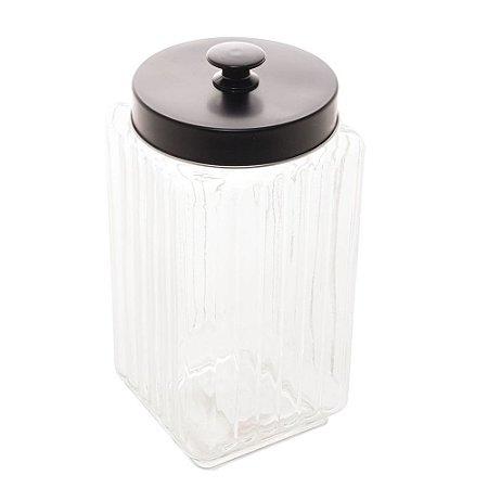 Pote de Vidro Borossilicato Com Tampa de Metal Preta -  2,3 lt