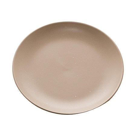 Conjunto de 02 Pratos Sobremesa de Cerâmica Granilite Cinza