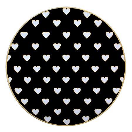 Prato Para Bolo de Vidro com Corações com Pé 28 cm