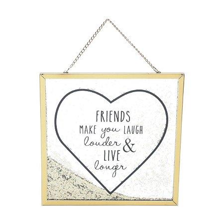 Placa de Vidro Glitter Friends Dourado