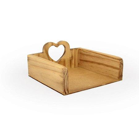 Porta Guardanapos Coração Pinus