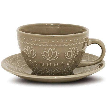 Xícara de Chá Relieve Cinza- Yoi