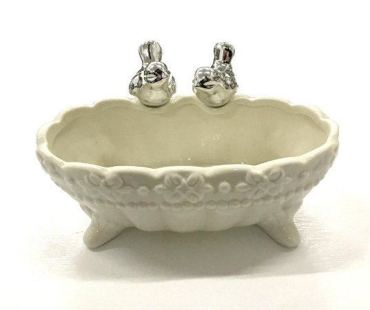 Banheira Pássaro Porcelana Prata