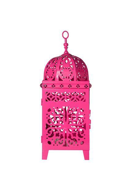 Lanterna Marroquina - Quadrada Flor Média Pink