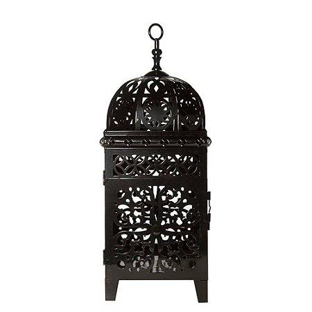 Lanterna Marroquina - Quadrada Flor Grande Preta