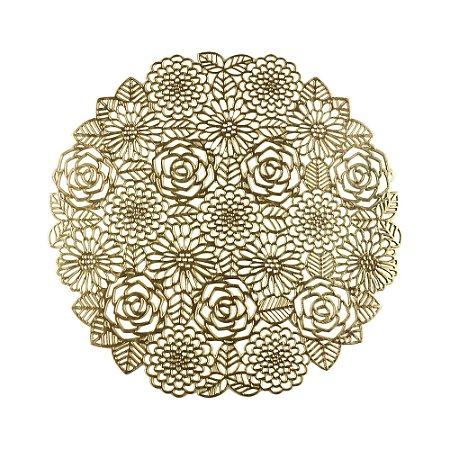 Lugar Americano de Plástico Flowers Dourado