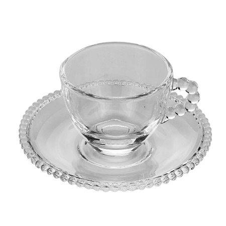 Xícara de Cristal de Chumbo Para Café Com Pires Bolinhas Pearl - 80 ml