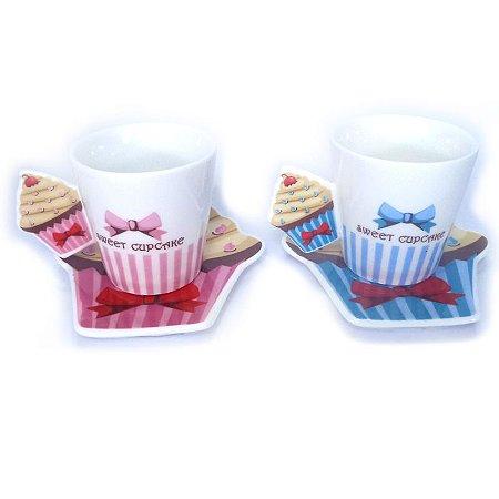Conjunto de Xícaras Laço CupCake