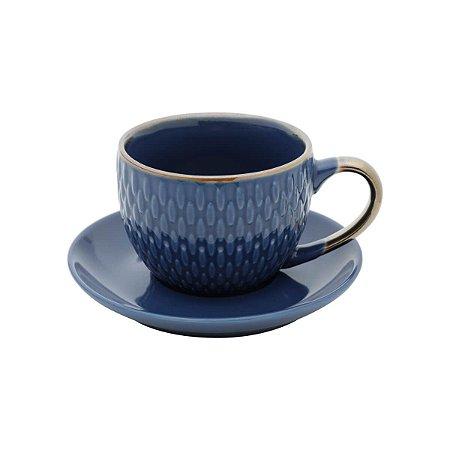 Conjunto de 4  Xícaras de Porcelana Para Café Azul
