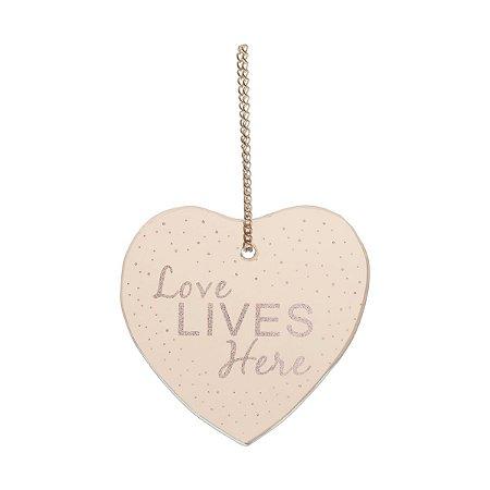 Placa de Espelho Love Lives Here